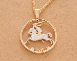 """Lithuanian Pendant and Necklace, Lithuanian 20 Centu Coin Hand Cut, 14 Karat Gold and Rhodium plated, 7/8"""" in Diameter, ( # 817 )"""
