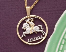 Lithuanian Pendant, Lithuanian Coin Jewerly, Lithuanian Necklace, World Coin Jewelry, Jewelry For Woman, Cut Coin Jewelry, ( # 227 )