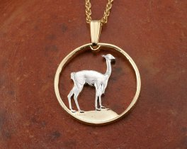"Llama Pendant and Necklace, Peruvian One Half Sol Llama Coin Hand Cut, 14 Karat Gold and Rhodium Plated, 3/4"" in Diameter, ( # 252 )"