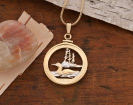 Loon Pendant, Canadian Loon Jewelry, Loon Necklace, Wild Life Jewelry, Wild Bird Jewelry, World Coin Jewelry,  Minisota Quarter ( # 2056 )
