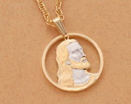 "Lord Jesus Pendant and Necklace, Religious Jesus Medallion Hand Cut, 14 Karat and Rhodium Plated, 7/8 "" in Diameter, ( # 526 )"