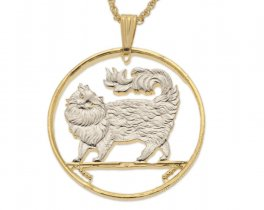 """Maine Coon Cat Pendant and Necklace, Isle of Man Cat coin Hand Cut, 14 K Gold and Rhodium plated, 1 1/2"""" in Diameter, ( # 394 )"""