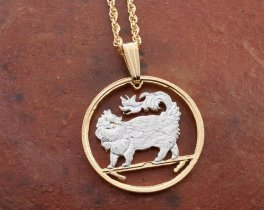 """Maine Coon Cat Pendant and Necklace, Isle Of Man Cat Coin Hand Cut, 14K and Rhodium Plated, 7/8"""" in Diameter, ( # 664 )"""