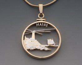 """Maine State Quarter Pendant, Hand Cut United States Maine State Quarter, 14 Karat Gold and Rhodium Plated, 1"""" in Diameter, ( # 2023 )"""