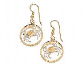 "Maltese Crab Earrings, Malta 5 cents Crab Coin Hand cut, 14 Karat Gold and Rhodium plated, 14 K G/F Ear Wires, 3/4"" in Diameter, ( # 840E )"