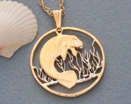 "Manatee Pendant and Necklace Jewelry, Costa Rica Manatee Coin Hand Cut, 14 K and Rhodium Plated, 1 1 /4 "" In Diameter, ( # 378 )"