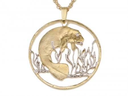 """Manatee Pendant and Necklace Jewelry, Costa Rica Manatee Coin Hand Cut, 14 K and Rhodium Plated, 1 1 /4 """" In Diameter, ( # 378 )"""