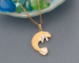 "Manatee Pendant, Hand cut Costa Rican Coin Jewelry, Sea Life Jewelry, Manatee Jewelry, 1"" long, ( # 378B )"