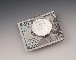 """Marine Money Clip, United States Marine Money Clip, Military Money Clips Marine Challenge Coin, 1 1/2"""" in diameter, ( # MSUSM )"""