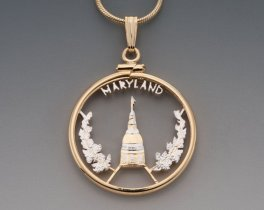 """Maryland State Quarter Pendant, hand Cut Maryland State Quarter, 14 Karat Gold and Rhodium Plated, 1"""" in Diameter, ( # 2007 )"""
