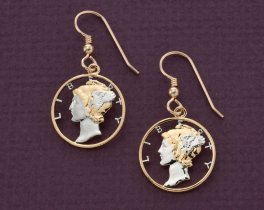 "Mercury Dime Earrings, United States 10 Cents Hand Cut,14 Karat Gold and Rhodium plated,14 K Gold Filled Wires 3/4"" in Diameter, ( # 312E )"