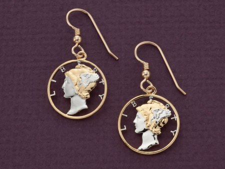 """Mercury Dime Earrings, United States 10 Cents Hand Cut,14 Karat Gold and Rhodium plated,14 K Gold Filled Wires 3/4"""" in Diameter, ( # 312E )"""
