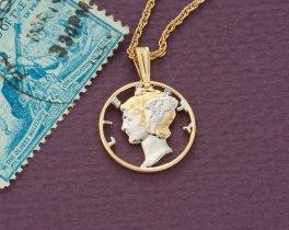 Mercury Dime Pendant,  Lady Liberty Necklace, ( # 312 )