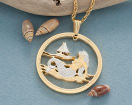 "Mermaid Pendant and Necklace, Palau One Dollar Mermaid Coin Hand Cut, 14 K Gold and Rhodium plated,1 3/8"" in Diameter, ( # 489 )"