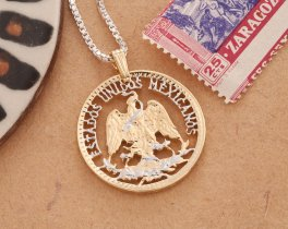 Mexican Eagle Pendant, Eagle Pendant, Mexican Coin Jewerly, Necklace Man, Cut Coin Jewelry, Pendant Necklace, Mexican Jewelry, ( # 503D )