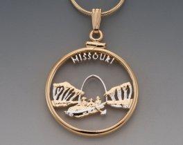 """Missouri State Quarter Pendant, Hand Cut United States Missouri Quarter, 14 Karat Gold and Rhodium Plated, 1"""" in Diameter, ( # 2024 )"""