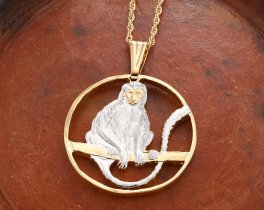 "Monkey Pendant, Hand Cut African Primate Coin, Monkey Jewelry, African Wild Life Jewelry, Wild Life Jewelry 1 1/4 "" Diameter, ( # 918 )"