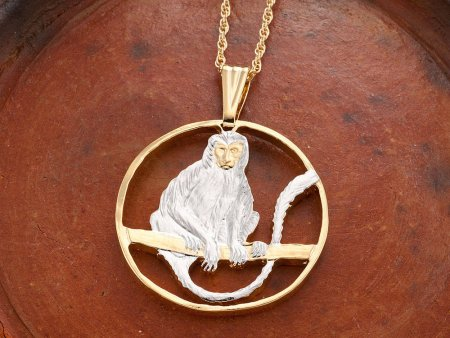 """Monkey Pendant, Hand Cut African Primate Coin, Monkey Jewelry, African Wild Life Jewelry, Wild Life Jewelry 1 1/4 """" Diameter, ( # 918 )"""
