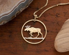 """Moose Pendant & Necklace, Poland 100 Zlotych Coin Hand Cut, 14 Karat Gold and Rhodium Plated, 1 1/4"""" Diameter, ( # 913 )"""