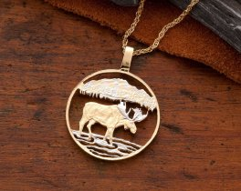 """Moose Pendant & Necklace, Canada One Dollar Coin Hand Cut, 14 Karat Gold and Rhodium Plated, 1"""" in Diameter, ( # 419 )"""
