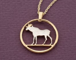 """Moose Pendant, Norway Coin Jewelry, Moose Jewelry, Norwegian Coin Jewelry, Wild Life Jewelry, 1"""" in diameter ( # 245D )"""