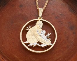 "Mother and Baby Monkey Pendant, Hand Cut African Wild Life Coin, African Wild Life Jewelry, 1 1/4"" in Diameter, ( # 946 )"