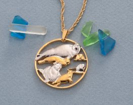 "Mother and Baby Seals Pendant and Necklace, Hand Cut Sealife Medallion, 14 Karat Gold and Rhodium Plated,1 1/8"" in Diameter, ( # 841 )"