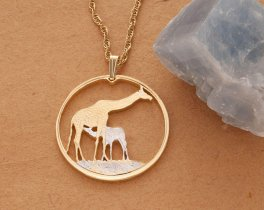 "Mother Giraffe and Baby Pendant and Necklace,Zambia Giraffe Coin Hand Cut,14 Karat Gold and Rhodium PLated, 1 3/8"" in Diameter, ( #883 )"