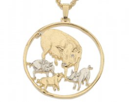 "Mother Pig and Babies Pendant and Necklace, Isle Of Man Coin Hand Cut, 14 Karat Gold and Rhodium Plated, 1 1/4"" in Diameter( # 469 )"