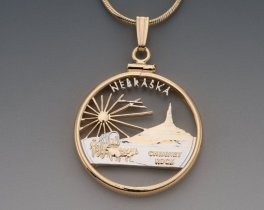 "Nebraska State Quarter Pendant, Hand Cut United States Nebraska Quarter, 14 Karat Gold and Rhodium PLated, 1"" in Diameter, ( # 2037 )"