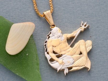 Neptune Pendant and Necklace, Barbadoes Coin Jewelry, Coin Jewelry, Hand Cuit Coins, Tropical Jewelry, Neptune Gift Ideas  ( # 22 )