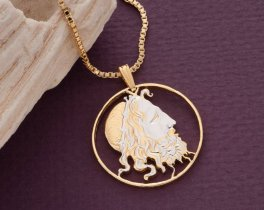 """Neptune Pendant and Necklace, Greek 20 Draxmai Neptune Coin Hand Cut, 14 Karat Gold and Rhodium plated, 1 1/4"""" in Diameter, ( # 147 )"""