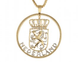 "Netherland Pendant and Necklace, Netherland 2 1/2 Gulider coin Hand Cut, 14 Karat Gold and Rhodium plated, 1 1/4 "" In diameter, ( # 235 )"