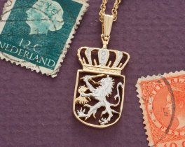"""Netherlands Pendant and Necklace Jewelry, Netherlands 21/2 Guilder coin Hand cut,14 K Gold and Rhodium plated, 7/8"""" in Diameter, ( # 235B )"""