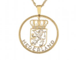 """Netherlands Pendant and Necklace, Netherlands One Guilder Coin Hand cut, 14 Karat Gold and Rhodium plated, 7/8"""" in Diameter, ( # 236 )"""