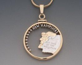 "New Hampshire State Quarter Pendant, Hand Cut United States State Quarter, 14 Karat Gold and Rhodium PLated, 1"" Diameter, ( # 2009 )"