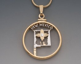 """New Mexico State Quarter Pendant. Hand Cut United States New Mexico Quarter, 14 Karat Gold and Rhodium PLated, 1 """" in Diameter, ( # 2047 )"""