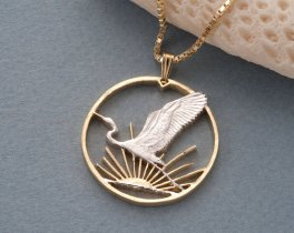 """New Zealand Bird Pendant and Necklace, New Zealand Dollar Coin Hand Cut, 14 Karat Gold and Rhodium Plated, 1 1/4"""" in Diameter, ( # 863 )"""