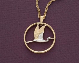 "New Zealand Crane Pendant and Necklace, New Zealand Two Dollar Coin hand Cut, 14 Karat Gold and Rhodium plated, 1"" in Diameter, ( # 386 )"