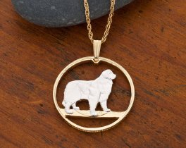 """Newfoundland Dog Pendant and Necklace Jewelry, Hand Cut Canadian 50 Cents Coin, 14 K and Rhodium Plated, 1"""" in Diameter, ( # 614 )"""