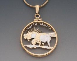 "North Dakota State Quarter Pendant, Hand Cut United States North Dakota Quarter, 14 K Gold and Rhodium Plated, 1"" In Diameter, ( # 2039 )"