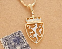 "Norway Lion Pendant and Necklace, Norway 10 Kroner coin Hand cut, 14 Karat Gold and Rhodium plated, 1"" in Diameter, ( # 447B )"