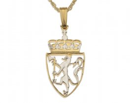 Norway Lion Pendant and Necklace, Norwegian Five Kroner Coin Hand Cut, 14K Gold and Rhodium Plated, ( # 242 )