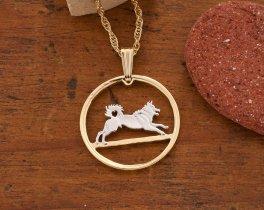 Norwegian Elk Hound Pendant, Norway Coin Jewelry, Elk Hound Necklace, Dog Pendant,Cut Coin Jewelry, Pendant Necklace,  Dog Jewelry ( # 578 )