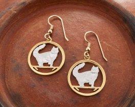 "Norwegian Forest Cat Earrings, Isle Of Man Norwegian Cat Coin hand Cut, 14 Karat Gold and Rhodium Plated, 7/8"" in Diameter, ( # 662E )"