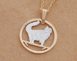 """Norwegian Forest Cat Pendant and Necklace, Isle Of Man Cat Coin Jewelry Hand Cut, 7/8 """" in Diameter, ( # 662 )"""