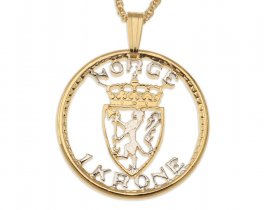 "Norwegian Pendant and Necklace, Norway One Krone Coin hand Cut, 14 Karat Gold and Rhodium plated, 7/8"" in Diameter, ( # 244 )"