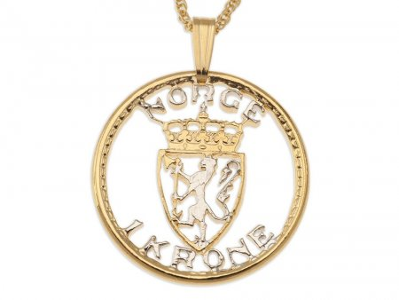 """Norwegian Pendant and Necklace, Norway One Krone Coin hand Cut, 14 Karat Gold and Rhodium plated, 7/8"""" in Diameter, ( # 244 )"""