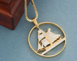 "Norwegian Sail Boat Pendant and Necklace, Hand Cut Norway Five Kroner, Nautical Jewelry, Sailboat Jewelry, 1 1/4 "" in Diameter, ( # 246 )"