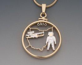 """Ohio State Quarter Pendant, Hand Cut United States Ohio State Quarter, 14 Karat Gold and Rhodium Plated, 1"""" in Diameter, ( # 2017 )"""